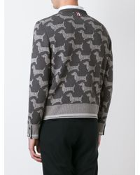 Thom Browne - Gray Dog Print Sweatshirt for Men - Lyst