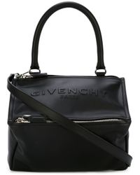Givenchy - Black Medium Pandora Debossed Leather Tote - Lyst