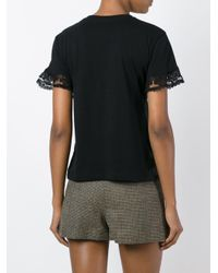 RED Valentino - Black Lace Insert T-shirt - Lyst
