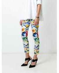 Dolce & Gabbana - Black Majolica Print Cropped Trousers - Lyst