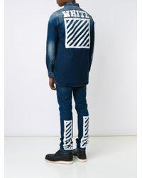 Off-White c/o Virgil Abloh - Blue Stonewashed Denim Shirt for Men - Lyst