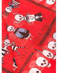 Alexander McQueen - Red 'voodoo Skull' Scarf - Lyst