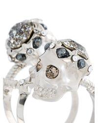 Alexander McQueen - Metallic Star Dust Skull Ring - Lyst