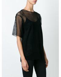 MM6 by Maison Martin Margiela - Black Mesh T-shirt - Lyst
