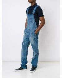 Givenchy - Blue Distressed Effect Dungarees for Men - Lyst