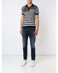 DIESEL - Black Multi Stripe Polo Shirt for Men - Lyst