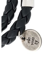 Eleventy - Black Skull Charm Braided Bracelet for Men - Lyst