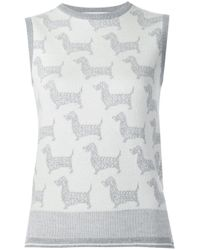 Thom Browne - White Dog Intarsia Knitted Top - Lyst
