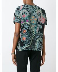 Etro - Multicolor Lace-trimmed Printed Silk Blouse - Lyst