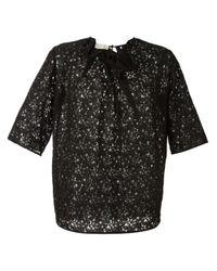 Stella McCartney   Black Floral Lace Effect Top   Lyst