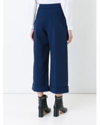Delpozo - Blue Cropped Tailored Trousers - Lyst