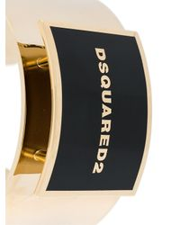 DSquared² - Metallic Logo Plaque Cuff - Lyst