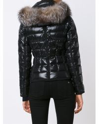 Moncler | Black Armoise Shiny Quilted Jacket W/fur Hood | Lyst