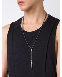 Roman Paul - Gray Long Dagger Necklace - Lyst