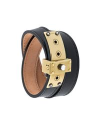 Lanvin - Black Stone Detail Lock Bracelet - Lyst