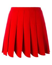 Miu Miu | Red - Pleated Mini Skirt - Women - Virgin Wool - 42 | Lyst
