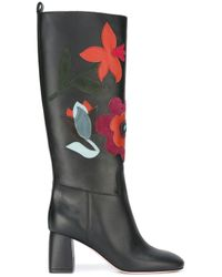 RED Valentino | Black Floral Leather Knee-High Boots | Lyst