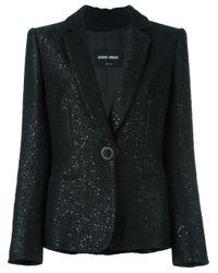 Giorgio Armani | Black Sequin-Embellished Wool and Silk Blazer | Lyst