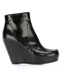 Rick Owens | Black Tall Zip Wedge Boots | Lyst