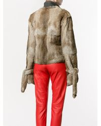 J.W.Anderson | Blue Cuff-detail High-neck Fur Jacket | Lyst