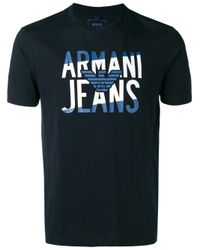 Armani Jeans | Blue - Logo Print T-shirt - Men - Cotton - Xl for Men | Lyst
