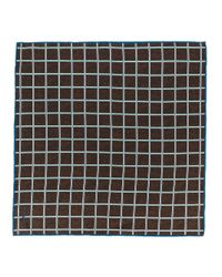 Kiton - Brown Grid Check Pocket Square for Men - Lyst