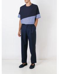 E. Tautz - Blue Colour Block Wide Fit 'collection' T-shirt for Men - Lyst