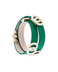 BVLGARI - Green Wrap Logo Charm Bracelet - Lyst