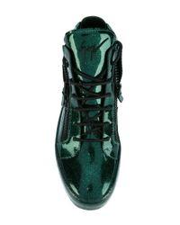 Giuseppe Zanotti - Green Men's Glitter Leather Mid-top Sneaker for Men - Lyst