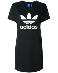 Adidas Originals | Black 'trefoil' T-shirt Dress | Lyst