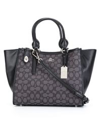 COACH | Black - Contrast Panel Tote - Women - Leather/polyester - One Size | Lyst