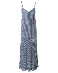 Giuliana Romanno - Blue Striped Crepe Midi Dress - Lyst