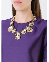 Oscar de la Renta - Blue Coin Style Necklace - Lyst