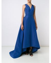 Carolina Herrera   Blue V-neck High Low Gown   Lyst