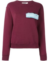 MSGM | Red Fur Detail Sweatshirt | Lyst