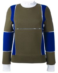 Courreges | Green Panelled Colour Block Sweater | Lyst