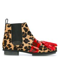 House of Holland   Brown Leopard Print Tasseled Chelsea Boots   Lyst