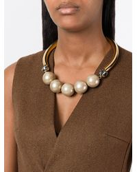 Marni | Multicolor Bow Fastening Pearl Necklace | Lyst