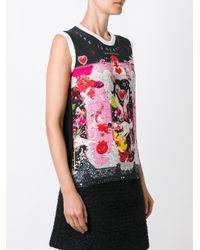 Piccione.piccione - Black Printed Sleeveless Knit Top - Lyst