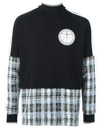 Astrid Andersen   Black Checked Panel Sweatshirt for Men   Lyst