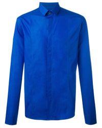 Les Hommes | Blue Concealed Fastening Shirt for Men | Lyst