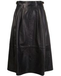 Derek Lam | Black Leather Midi Skirt | Lyst
