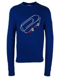 Carven | Blue Embroidered Paper Clip Sweatshirt for Men | Lyst