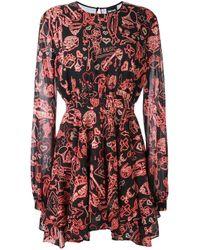Just Cavalli | Black - Multi-print Flared Dress - Women - Silk/polyester/spandex/elastane - 40 | Lyst