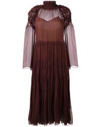 Chloé | Multicolor Floral-smocked Silk-crepon Midi Dress | Lyst