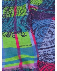 Etro - Multicolor Checked Paisley Print Scarf for Men - Lyst