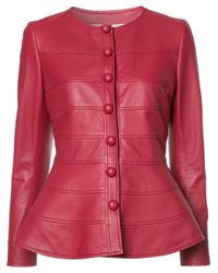 Carolina Herrera | Red Peplum Jacket | Lyst