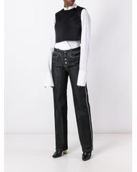 Paco Rabanne - Black Buttoned Straight Jeans - Lyst