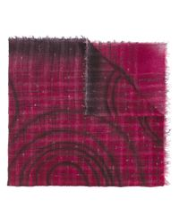 Faliero Sarti - Red Bouclé Knit Check Frayed Edge Scarf - Lyst