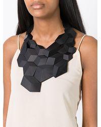Monies - Black Geometric Necklace - Lyst